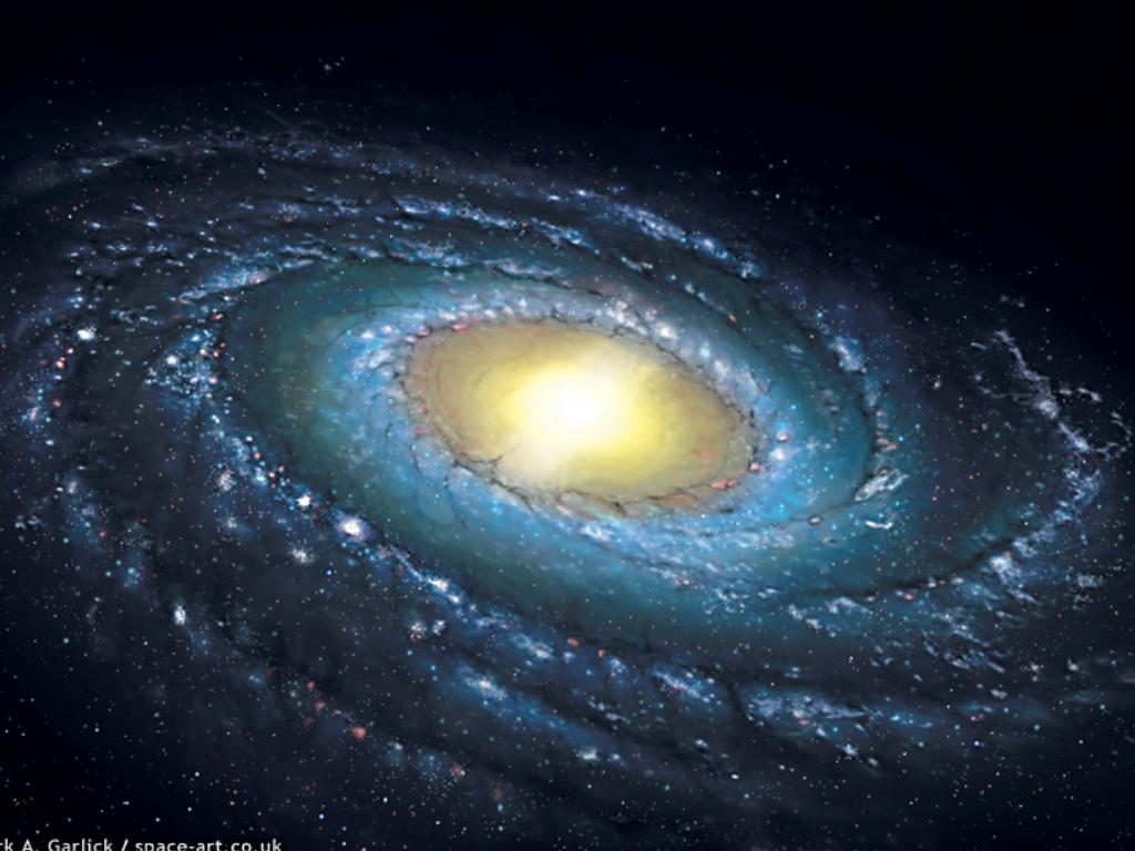 A new impression of the Milky Way Galaxy seen from an oblique vantage point and showing the central bar and molecular ring.